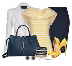 """Yellow Striped Top"" by ccroquer ❤ liked on Polyvore featuring Balmain, Donna Karan, Andrea Turchi, Christian Louboutin, Gucci, Mixit and Dorothy Perkins"