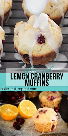 These glazed lemon cranberry muffins are light & fluffy with the tart, fresh cranberries complimenting the sweet lemon glaze perfectly! (with recipe video) Lemon Cranberry Muffins, Muffins Blueberry, Lemon Muffins, Cranberry Recipes, Citrus Recipes, Muffin Recipes, Gourmet Recipes, Brunch Recipes, Easy Recipes