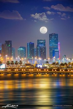 Beautiful Moon night view, Miami, Florida