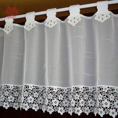 Elegant off white floral embroidery lace half-curtain bay window curtain tulle cortinas rideaux gard Half Curtains, Bay Window Curtains, Valance Curtains, Rideaux Du Bow Window, Cheap Tulle, Crochet Curtains, Crochet Hammock, Asian Decor, House Windows