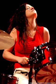Meg white stripes boobs
