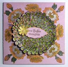 Card created with the Scrumptious Succulents and Blossom and Grow stamp sets from Chocolate Baroque. Beads Direct, Baroque Design, Gold Powder, Pink Cards, How To Make Paper, Paper Design, Positive Thoughts, Paper Flowers, Floral Wreath