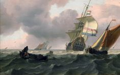 Woelige_zee_met_schepen_-_Turbulent_sea_with_ships_(Ludolf_Backhuysen). Anglo Dutch Wars, Old Sailing Ships, Sailing Boat, Dutch Golden Age, European Paintings, Vintage Paintings, Dutch Artists, Canvas Prints, Art Prints