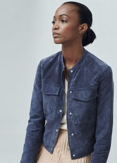 Flap-pocket suede jacket | MANGO - In China Blue and Pastel Pink