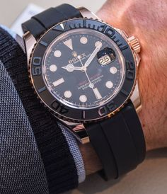"Rolex Yacht-Master 116655 & 268655 Everose Gold Ceramic Watches Hands-On - by Ariel Adams - see the hand-on photos, video, and report from the ground at Baselworld 2015 - on aBlogtoWatch.com ""The new sports watch from Rolex for 2015 was an interesting version of the Rolex Yacht-Master presented in an 18k Everose gold case with a Cerachrom black ceramic bezel matched to a new strap Rolex calls the Oysterflex. The 2015 Yacht-Master is actually two watches and each has slight, but important…"