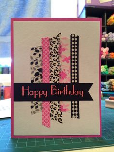 Happy birthday handmade card washi tape pink black