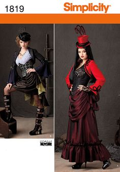 Simplicity Pattern 1819 - Misses' Victorian era steam punk inspired costume sewing pattern includes skirt in two lengths, bolero, top and bustier. Theresa Laquey