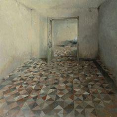 Matteo Massagrande -La stanza -  Tecnica mista su tavola -  cm 80x80