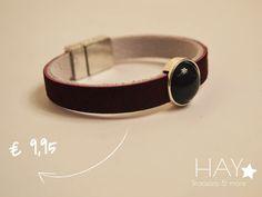 Armband met steen | Zwart/ bordeaux rood