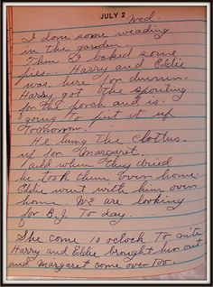 Vintage Johnstown: July 2, 1947: Diary of a Johnstown Housewife
