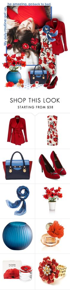 """red poppies, blue scarf"" by sagramora ❤ liked on Polyvore featuring moda, BGN, Warehouse, Versace, Bettie Page, Hermès, Cyan Design, Kenzo y Amrita Singh"