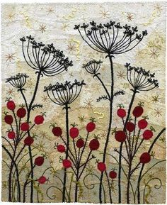 Rose hips with Umbrels. Machine and hand embroidery, couching, appliqué, some metallic threads by Kirsten Chursinoff - Embroidery over patchwork Umbel silhouettes with rose hips. This piece was displayed at the Circle Craft Christmas Market at the new Va Free Motion Embroidery, Embroidery Applique, Machine Embroidery Designs, Embroidery Stitches, Embroidery Patterns, Modern Embroidery, Quilt Patterns, Hand Applique, Machine Applique