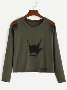 Army Green Gesture Print Distressed T-shirtFor Women-romwe