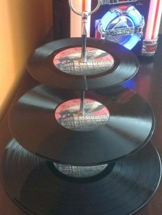 Perfect gift for birthday or Christmas for the Zep fan who has it all: Led Zeppelin 3 Tier Vinyl Record Cake Stand by vinylwallyork, £12.99