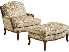 BERGERE - I love chairs with footstools.