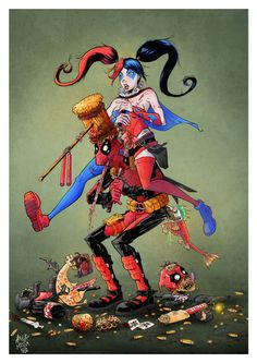 Deadpool and Harley Quinn. by Arturo Mesa Harley Quinn Drawing, Joker And Harley Quinn, Gorillaz, X Men Funny, Deadpool Funny, Deadpool Stuff, Fox Kids, Dc Memes, Dc Comics Art