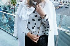 white Dorothy coat, kate spade bow coat, chanel bag, Karen walker super duper sunglasses, fall fashion, white coat, preppy style, polka dot blouse