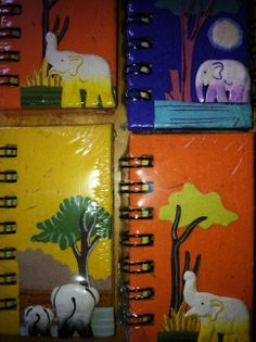 Custom made super mini notebooks. And they are made from recycled elephant pooh! Great fun fact for the kids, while saving elephants and providing work for communities in Sri Lanka. Elephants, Sri Lanka, Notebooks, Fun Facts, Recycling, Mini, Painting, Art, Craft Art