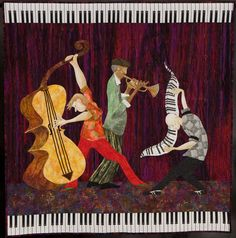 Take In The Night Blooming Jazz, Man - by Kathry G. Nolte. This quilt grew out of twin passions: gardening (powerfully-sweet night blooming jasmine), and foot stomping, soul moving N'Orleans jazz.  1st place - innovative, 2012 Road to California