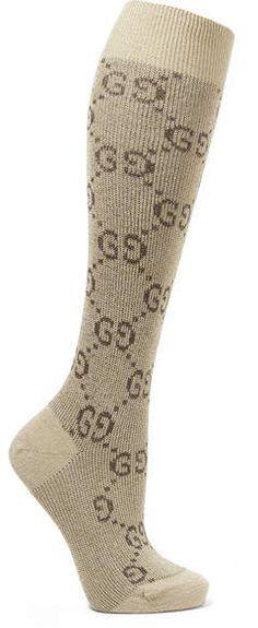 0bad43a11cb Gucci - Metallic Cotton-blend Jacquard Socks - Beige Metallic