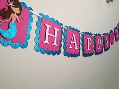 Mermaid Glittery Happy Birthday Banner Under the Sea Banner on Etsy, $33.00