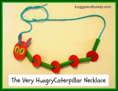 Eric Carle - Very Hungry Caterpillar necklace craft - green-dyed pasta, yarn, paper scraps. Kinder orientation for next year? Spring Crafts For Kids, Art For Kids, Hungry Caterpillar Craft, Counting Caterpillar, Caterpillar Book, Classroom Crafts, Book Crafts, Preschool Crafts, Activities For Kids