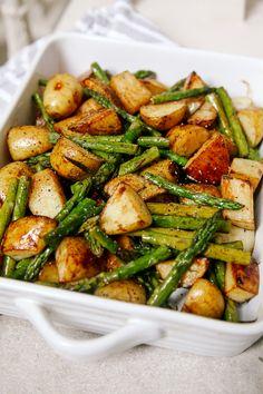 daily recipes: Balsamic Roasted New Potatoes with Asparagus Roasted Asparagus And Potatoes, Potato And Asparagus Recipe, Recipes With Asparagus, Roasted Balsamic Vegetables, Roasted Pork Loin Recipes, Balsamic Salad Recipes, Recipes For Potatoes, Recipes With Pork, Roasted Veg Salad