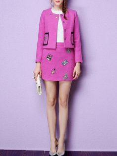 Embroidery Wool Blend Jacket and Mini Skirt
