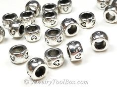 Silver Heart Pewter Beads, Large 5mm hole, 6x9mm, Antique Silver Finish, Lead Free, Lot Size 8 to 50,  #1229