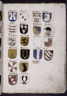 TITLE Coats of arms NAMES Richental, Ulrich von, ca. 1365-1437? (Author) COLLECTION Chronik des Constanzer Concils DATES / ORIGIN Date Created: 1460 (approximate) Place Term: Germany (Swabia) Shelf locator: Spencer Collection Ms. 32