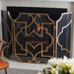 Antique Gold And Black Mesh Fireplace Screen Dessau Home Screens Fireplace Accessories Hom