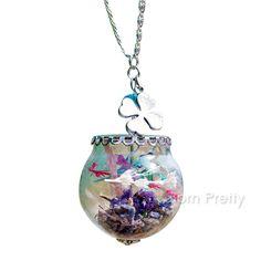 $3.79 1Pc Cute Dried Lavender Glass Necklace Cute Ball Pendant Necklace - BornPrettyStore.com