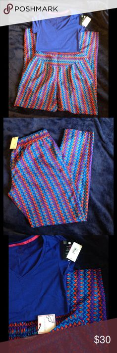NWT Colorful Outfit BISOU BISOU pants size M and shirt size S, both NWT, great colors! Bisou Bisou Pants Straight Leg