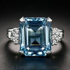 6.00 Carat Aquamarine Platinum and Diamond Ring ~ 35 Pieces Of Gorgeous Jewelery - Style Estate -