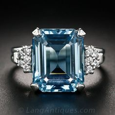 35 Pieces Of Gorgeous Jewelery - Style Estate - 6.00 Carat Aquamarine Platinum and Diamond Ring