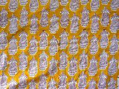 Indian Hand Block Print Cotton Fabric Natural Printed Handmade Sanganeri A379 #Unbranded