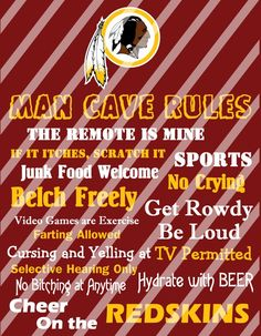 Washington Redskins Man Cave Rules Wall Decor Sign (digital or photo print)
