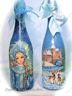 Декор предметов День рождения Новый год Декупаж Работы Бутылки стеклянные Салфетки фото 14