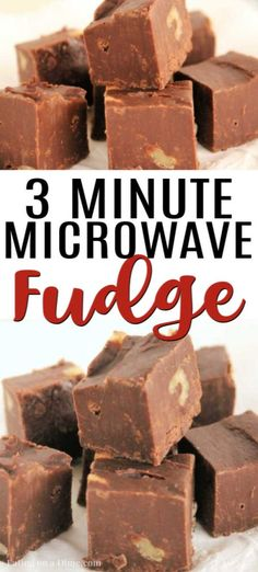 Here is the best microwave fudge recipe. This easy 3 ingredient fudge is so easy. Learn how to make fudge in the microwave. Recipes with few ingredients Best Microwave Fudge Recipe - Easy 3 Ingredient Fudge Candy Recipes, Brownie Recipes, Dessert Recipes, Dinner Recipes, Sweet Recipes, How To Make Fudge, Food To Make, Making Fudge, Tasty Chocolate Cake