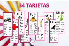 Silabario En Espanol Para … Math For Kids, Activities For Kids, First Grade, Periodic Table, Education, Reading, School, Dado, Bolivia