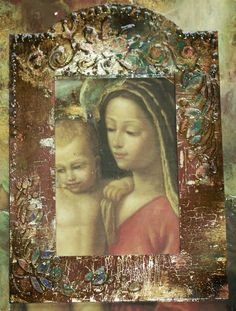 decoupage i jedwabie Ma. Decoupage On Canvas, Different Kinds Of Art, Art File, Mixed Media Art, Mix Media, Religious Art, Canvas Frame, Altered Art, Stencils