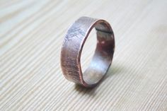 Mens wedding Band Mens ring wood texture ring man jewelry