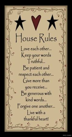 HOUSE RULES Primitive Wood Family Sign Inspirational Country Rustic Home Decor