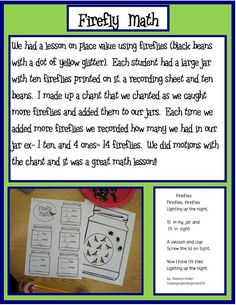 """fireflies this could be used with numbers 0-10 and children just manipulate that many fireflies and then record the number. Great to do for math after reading """"the lonely firefly"""""""