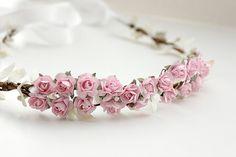 Pink Floral Crown Wedding Flower Crown. Paper by rosesandlemons, $45.00