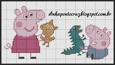 Counted Cross Stitch Patterns, Cross Stitch Designs, Cross Stitch Embroidery, Peppa Pig, C2c Crochet Blanket, Stitch Character, Stitch Cartoon, Cross Stitch For Kids, Cross Stitch Collection