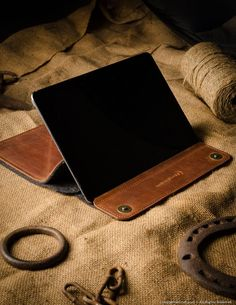 Leather ipad pro stand and case, brown