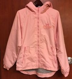 ☀disneyland Castle Princess Pink☀zip Up Hoodie Lined Jacket Windbreaker Adult S | eBay