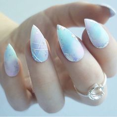 Beautifully blended pastels and foil on almond-shaped nails with 3d lines on one accent finger and finished off with a matte top coat by @perfect10customnails Ugly Duckling Nails page is dedicated to promoting quality, inspirational nails created by International Nail Artists