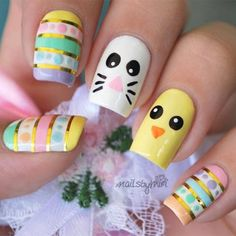 Adorable Easter Nail Art Designs You Must Try Easter nails; Egg And Bunny Nail Art Designs; Easter Nail Designs, Gel Nail Art Designs, Easter Nail Art, Cute Nail Designs, Nails Design, Simple Designs, Cute Nail Art, Cute Nails, Pretty Nails
